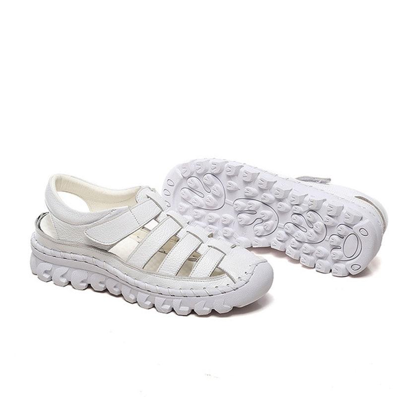 Image 2 - BEYARNE  Xiuteng Brand Woman Handmade Floral Genuine Leather Sandals Women Flats For Women Flat with Slipper Ladies Summer ShoesMiddle Heels   -