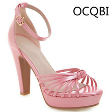 Womens High Chunky Heel Ankle Strap Sandals Shoes Party Evening Platform Bridals Pink Size33 Plus Size