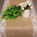 rustic vintage jute lace wedding accessories decoration Christmas party event supplies hessian pink retro burlap table runner