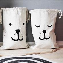 Купить с кэшбэком Large Baby Toys Storage Bags Canvas Bear Mask Laundry Hanging Drawstring Bag Household Pouch Bag Home Storage Organization