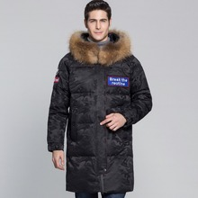 JZ jefe de largo por la chaqueta con capucha de piel genuina camuflaje grueso invierno cálido abajo parche abrigo Parka ropa de abrigo diseño abrigo