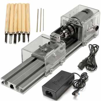 Mini Lathe Beads Machine Woodworking Drill Rotary Tool Standard Set DIY Lathe Polishing Cutting with Power Supply DC 24