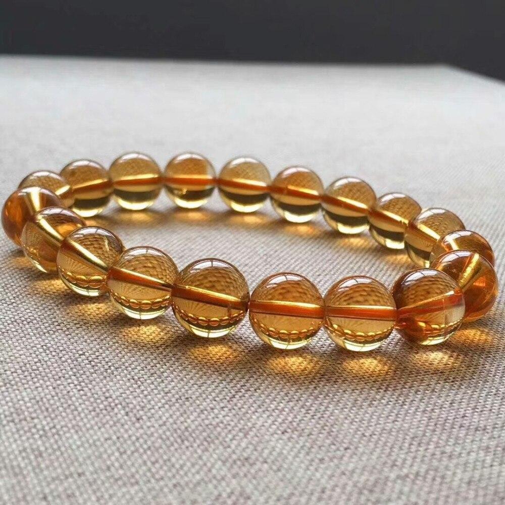 9mm Genuine Natural Yellow Citrine Quartz Crystal Bracelet Round Beads Gemstone Wealthy Stone Stretch Woman ManAAAAAA (4)