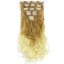 Soowee 7 шт./компл. Длинные Вьющиеся Синтетические Волосы Коричневого до Блондинка Ломбер Зажим Для Волос В Волос Расширение Cheveux Парики 140 г