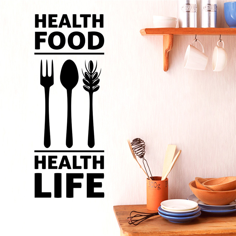 Us 1 15 5 Off Health Life Food Kitchen Decor 3d Vivid Spoon Fork Wall Stickers Decal Restaurant Supermarket Decor Vinyl Wall Mural In Wall Stickers