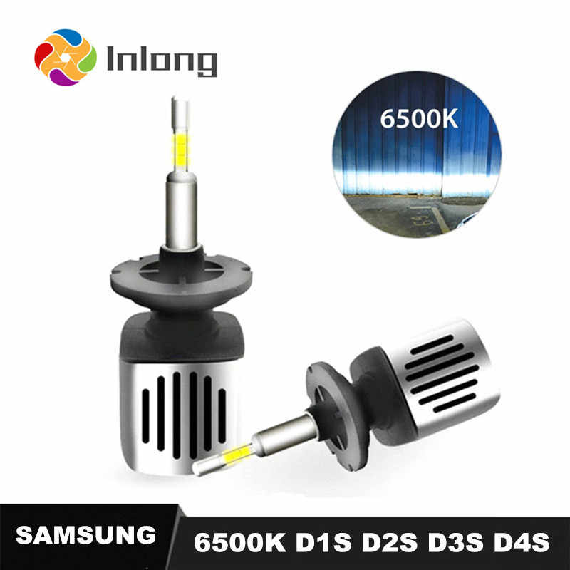 Inlong With 4 Sides SAMSUNG Mini H4 LED H7 11200LM D2S H1 H9 H11 9005 D3S 9006 HB4 D1S Car Headlight Bulbs 6500K  Fog Lights 12V