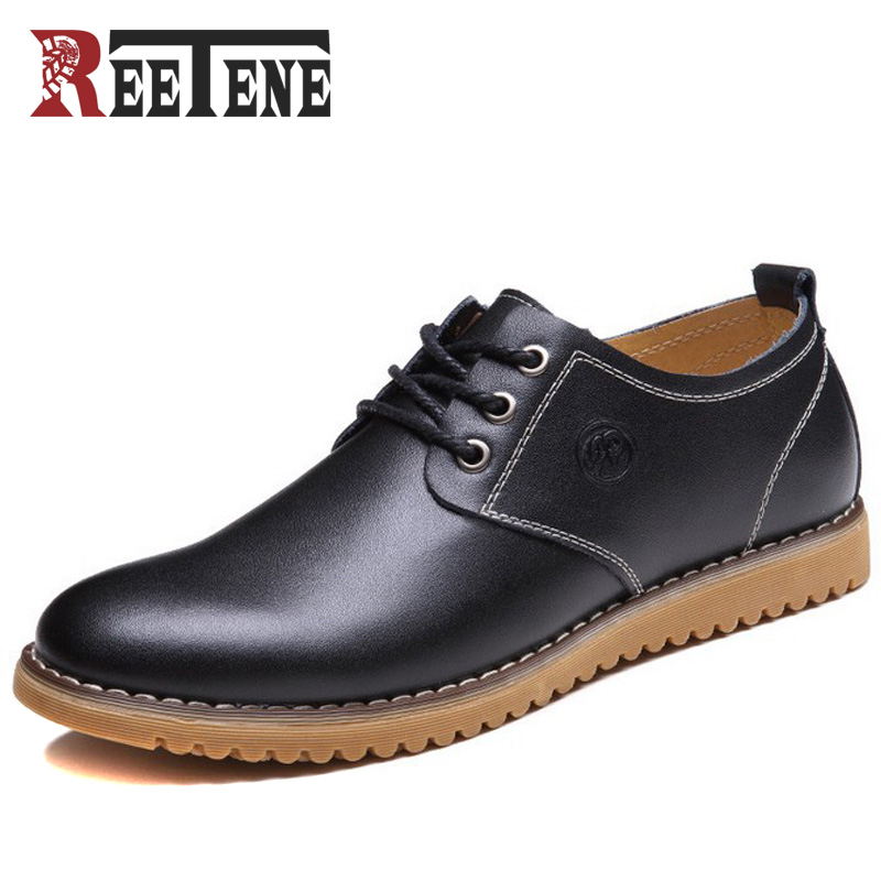 Reetene Big Size 38-48 Leather Men Casual Shoes Fashion Leather Shoes For Men Spring Men'S Flat Shoes Men Sneakers Dropshipping hot sale new oxford shoes for men fashion men leather shoes spring autumn men casual flat patent leather men shoes size 46