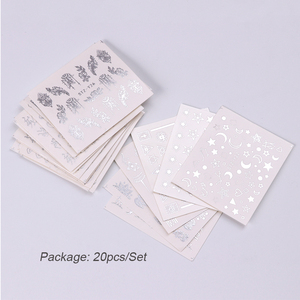 Image 5 - 20pcs Pure Silver Nail Decals Watermark Big Floral Vine Simple Geo Tiger Fox Flamingo Flowers Stickers Nails Accessories BEYS20