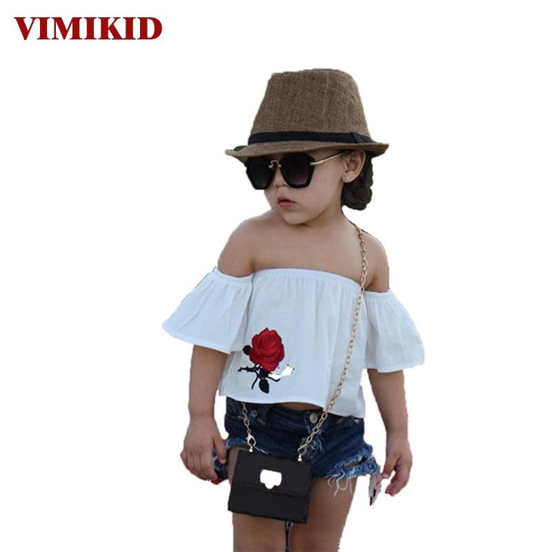 VIMIKID 2017 nieuwe zomer kleding sets Kids Baby Girl off shoulder - Kinderkleding