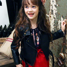 Girls Spring Autumn Clothing Leather Outfit Hot New Kids Coat Jacket Children PU Thin Thick