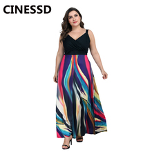 CINESSD Women Colorful Striped Plus Long Dress V Neck Spaghetti Straps Sleeveless A Line Patchwork Loose Swing Casual Maxi