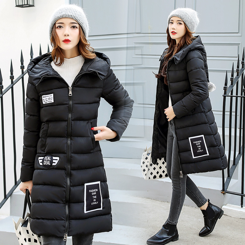 2017 Winter Women Parkas Jackets Long Slim Thick Warm Hooded Zipper Female Cotton-padded Coats New Hot Fashion LA1013B#16605 new collocation winter warm parkas hooded pockets zipper solid thick women coat slim long flare slim cotton padded lady jackets