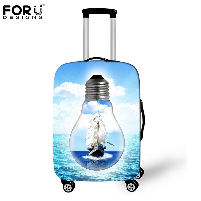FORUDESIGNS Creative Bulb Sailboat Luggage Cover For 18-30 Inch Pink Flower Suitcase Protective Cover Elastic Travel Accessories
