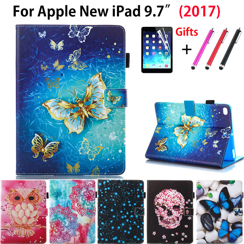 For Apple New iPad 9.7 2017 A1822 Case Smart Cover Cartoon Owl butterfly flower Case Funda PU Leather Stand Skin+Stylus+film new animal cartoon tiger owl pu leather stand for apple ipad pro 9 7 case with card slot protector back cover stylus
