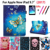 Cartoon Owl Butterfly Flower Case Cover For Apple New IPad 9 7 2017 Funda Cases Model