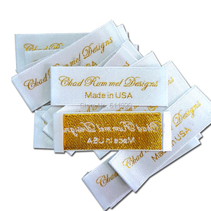 Custom clothing satin woven labels/garment embroidered tags/golden silver thread collar label/dress labels tags 1000 pcs a lot
