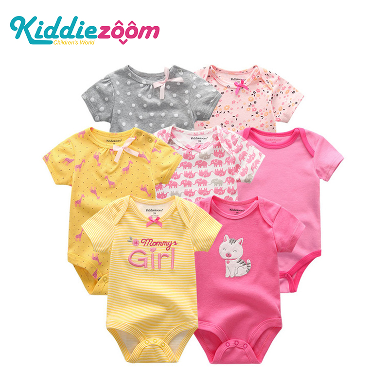 7PCS/lot 2019 Baby Rompers Girl Clothes Newborn Cotton Baby Boy Clothes Jumpsuits Jumpsuit Ropa Bebe Short Sleeve Newborn 0-12M(China)
