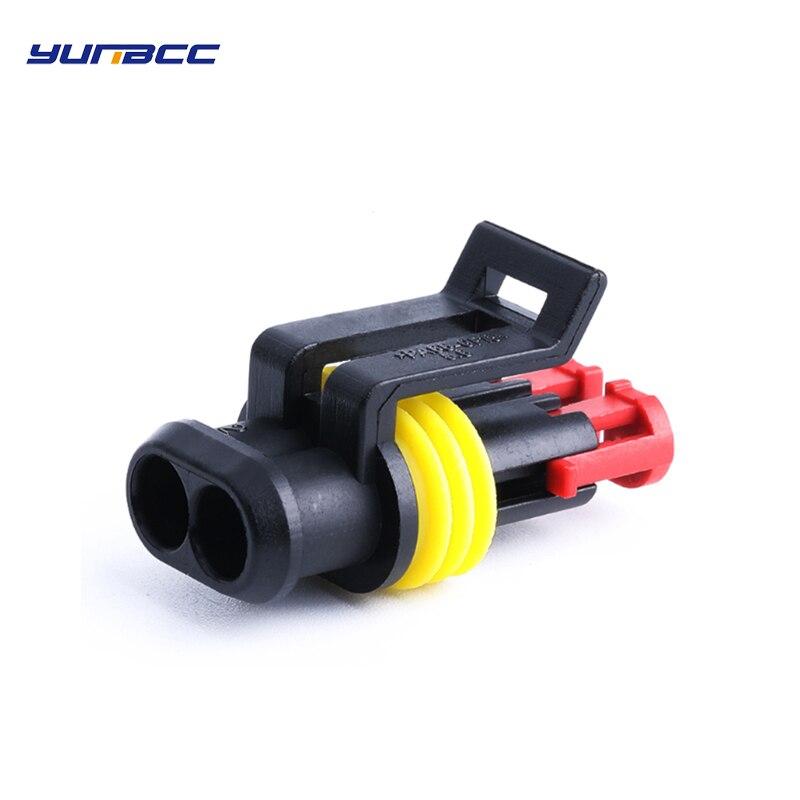 Conjuntos 2pin 5 tyco amp elétrico à prova de água conector do cabo de chicote de fios do plugue fêmea 282080-1