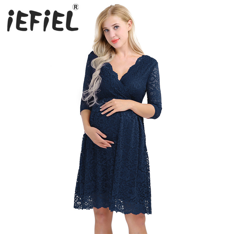 iEFiEL Fashion Female Womens Elegant Floral Lace Overlay V Neck Half Sleeve Knee Length Pregnant Photo Shoot Photography Dress