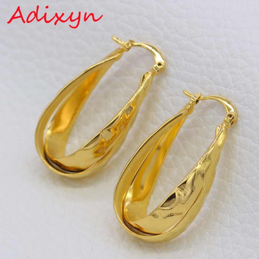 Adixyn Gold Ohrringe Schmuck Für Frauen/Mädchen Gold Farbe/Kupfer Creolen Schmuck Party Geschenke N01201