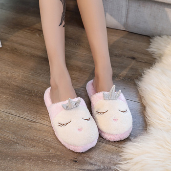 362d4b81698613 ... Lovely Women Home Slippers Warm Winter Cute Indoor House Shoes Woman  Pink Soft Bottom Bedroom Ladies