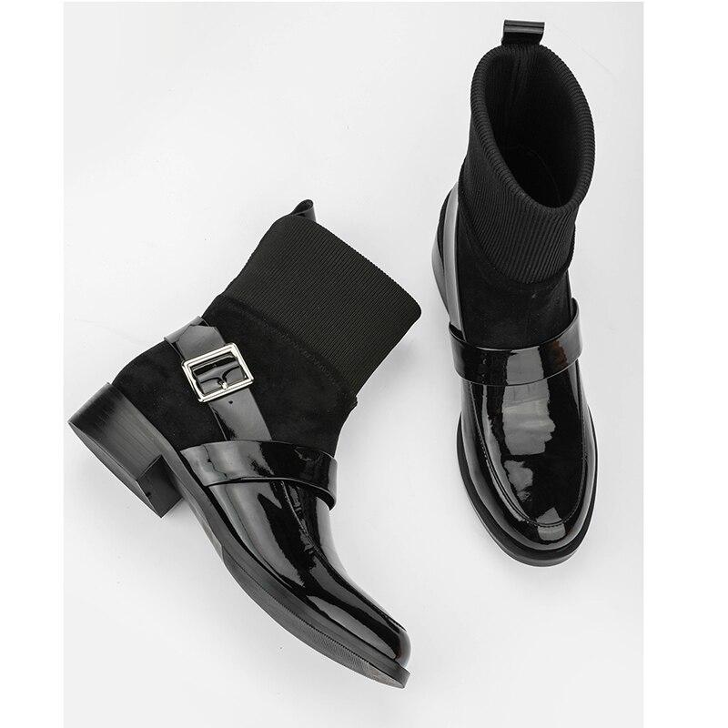 Black Courtes Ceinture black Martin Boucle Verni Rond Chelsea Noir Leather Femme Stretch Mulheres Plat Patent Cuir Bottes Cowhide En Bout Tricoté 9IEDYWH2