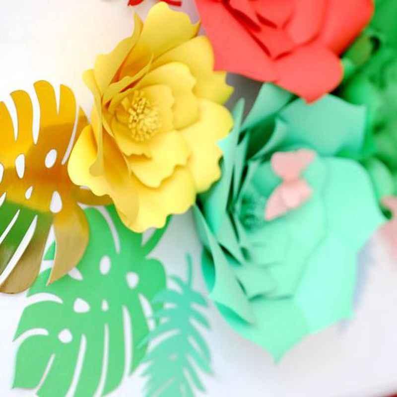 День рождения украшения Дети 6 шт. DIY Бумага черепаха лист/Palm фон с листьями Декор Свадебная вечеринка домашний декор комнаты поставки, Q