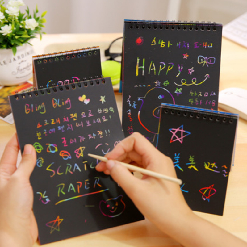Kids Fun Doodling Scratch Paper Christmas Colorful Black With Wood Stick Draw Matte Paper DIY Painting Educational Doodling Toys