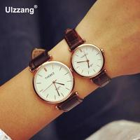 Luxury Business Rose Gold Silver Genuine Leather Dress Quartz Wrist Watch Hours Clock For Men Women