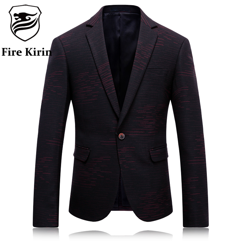 Feu Kirin Blazer Hommes 2017 Marque De Luxe Rayé Mens Blazer Slim Fit Veste  De Costume