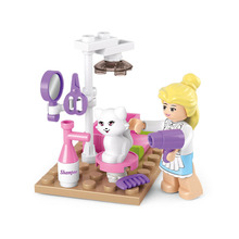 A Toy A Dream Girl Pet Grooming Store Model Building Blocks