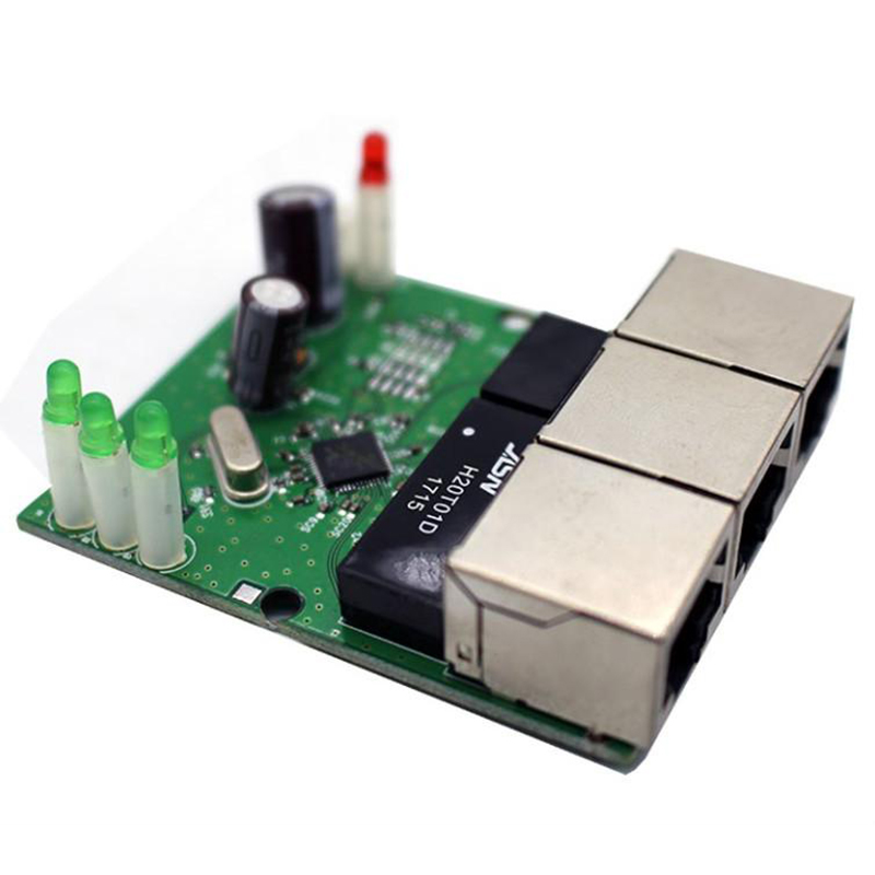 OEM Fast switch mini 3 port ethernet switch 10 / 100mbps rj45 network switch hub pcb module board for system integration module
