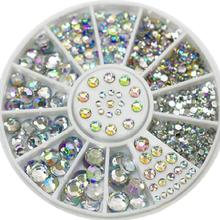 5Sizes 400 Pcs/set Nail Art Tips Crystal Glitter Rhinestone 3D Decoration Wheel