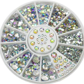 5Sizes 400 Pcs/set Nail Art Tips Crystal Glitter Rhinestone 3D Nail Art Decoration Wheel image