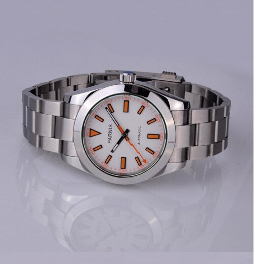где купить 40mm  Parnis Sapphire White Dial Automatic Movement Watch free shipping по лучшей цене