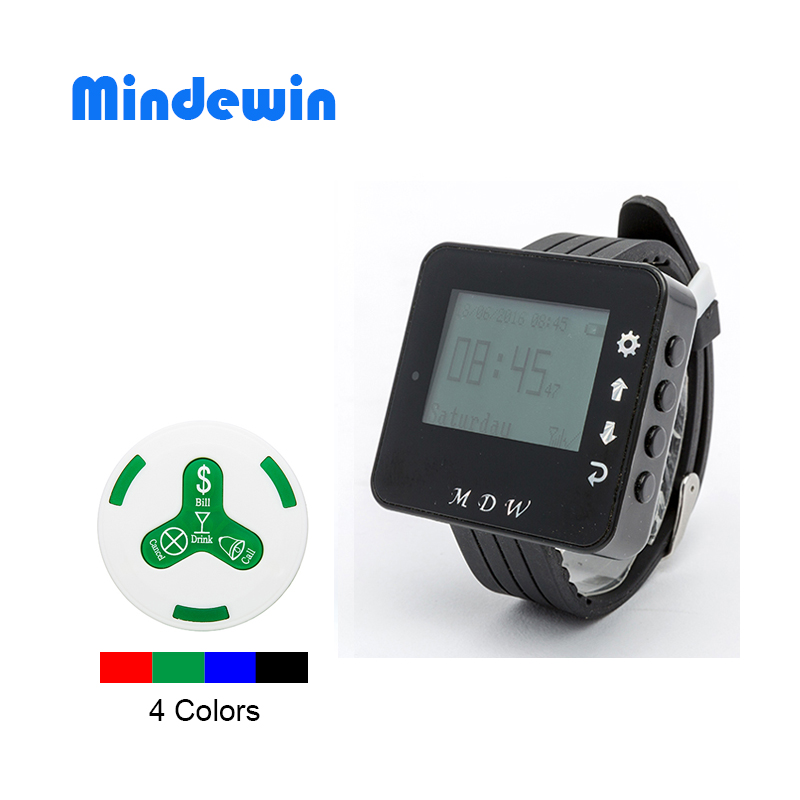 MDW Wireless Restaurant Guest Paging System 10 Pieces Waiter Call Button M-K-4 With 1 Piece Receiver Watch M-W-1 Coaster Pager restaurant call bell pager system 4pcs k 300plus wrist watch receiver and 20pcs table buzzer button with single key