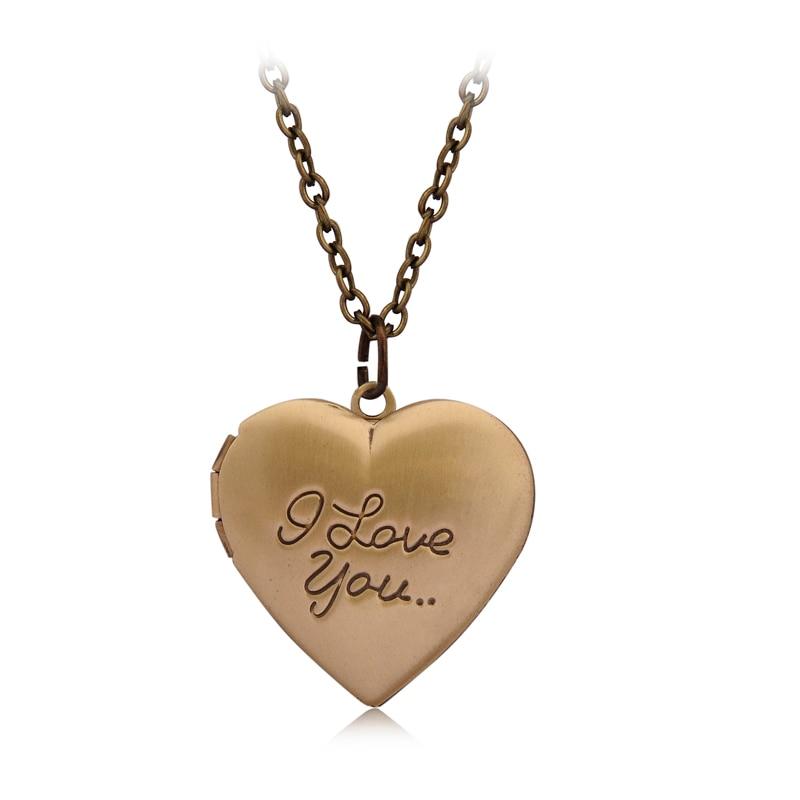 """I love you"" Heart Locket Pendant Necklace Women Men Lovers Vintage Brass Photo Frame Box Choker Neckalces Fashion Love Jewelry"