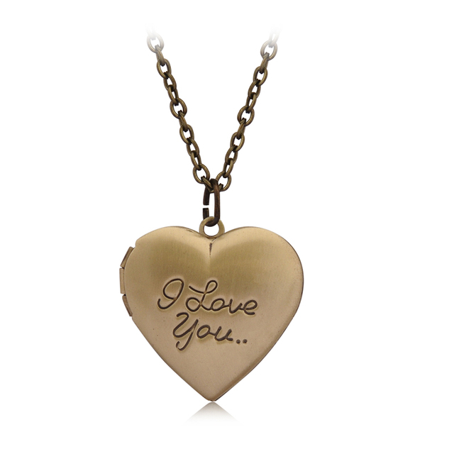 """I love you"" Heart Locket Collana Donne Uomini Amanti Vintage Brass Photo Frame"