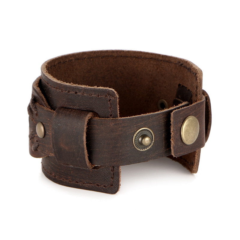 IF YOU Fashion Wide Double Layer Wrap wristband Leather Bracelet Homme Cuir For Men Fashion Casual Rock Cuff Armband Bracelets 12
