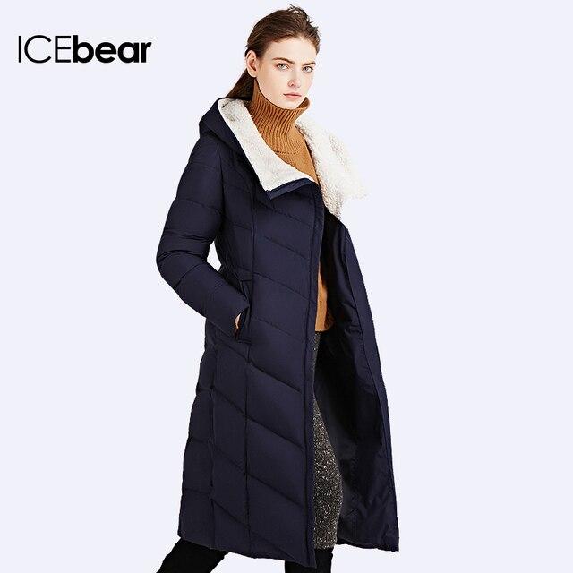 Icebear 2016 зима осень куртка женщин ватник зима стройное длинное пальто три цвета толстые парки 16G661D