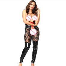 Sexy Lingerie PU Leather Plus Size Exotic Pants Open Crotch Luru Women Bandage Catsuit Spandex See Through Erotic Body Stocking