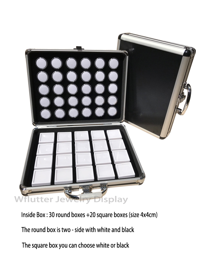 Przenośny aluminium podróży Gem Box kamień etui do przechowywania taca na biżuterię kamień uchwyt z tworzywa sztucznego okrągłe i kwadratowe diamentowe pudełka w Pakowanie i ekspozycja biżuterii od Biżuteria i akcesoria na  Grupa 1
