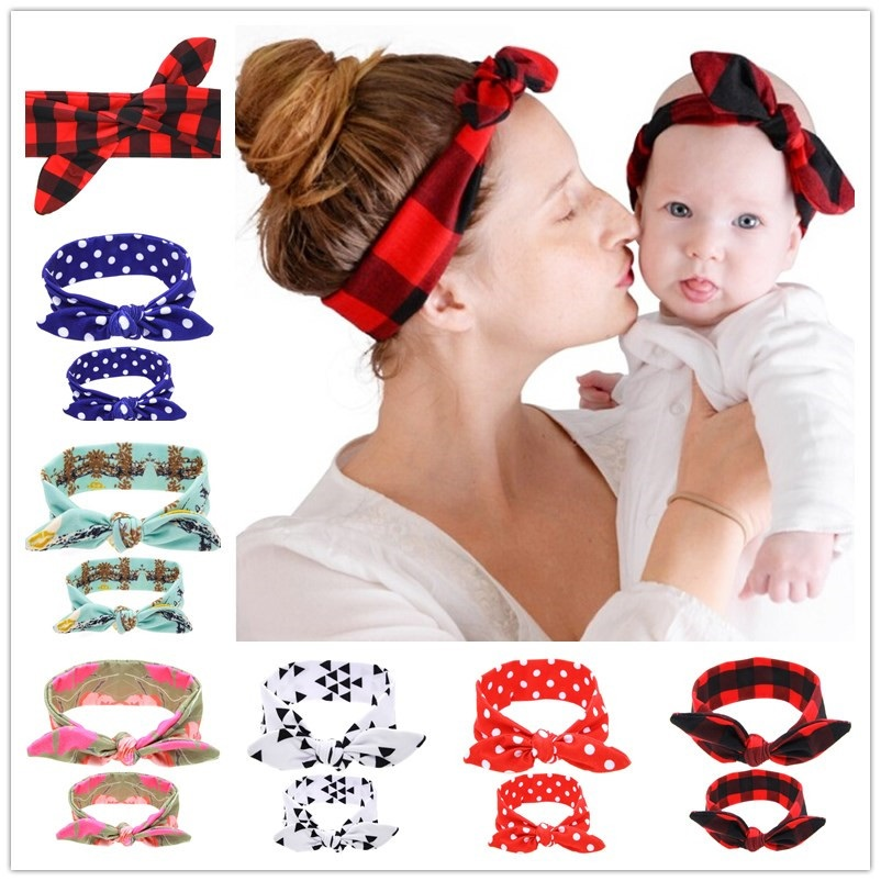 Naturalwell Mama and Me Topknopen Headwrap Set Topknot Hoofdband Mom and Me Hoofdbanden Mom and Daughter tulband Set 1set HB536