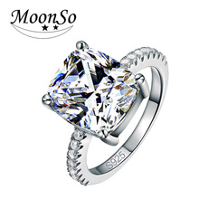Moonso Fashion Cushion Cut Silver Color Ring Finger and CZ Diamond for Women Jewelry Wedding Engagement wholesale Moonso LR1953