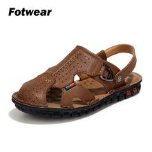 Fotwear Men sandals Leather men High Quality zapatos with a protective toe Big size to 9.5 Beach walking