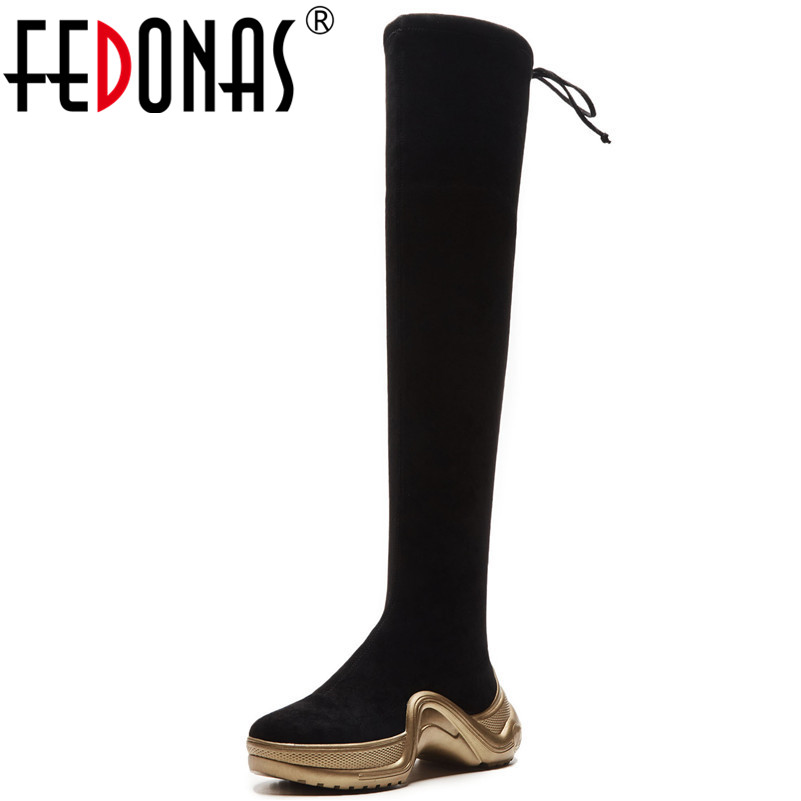 FEDONAS Punk Rock Sexy Tight High Dancing Shoes Woman Lace Up Slim Long Warm Winter Shoes Ladies Over The Knee High Boots 20cm pole dancing sexy ultra high knee high boots with pure color sexy dancer high heeled lap dancing shoes
