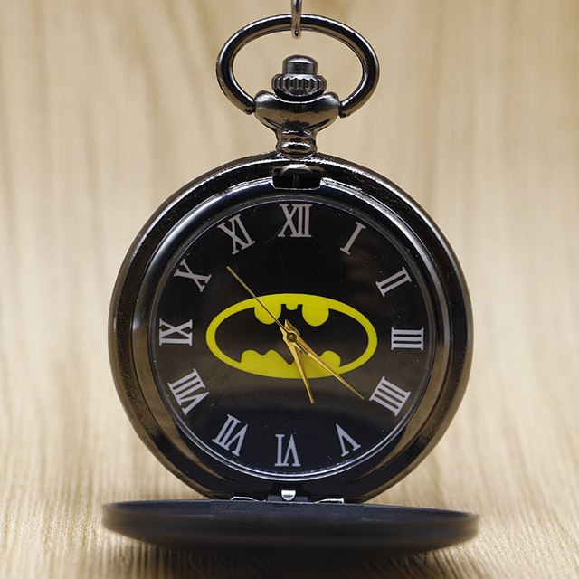Retro Full Hunter Black Batman Quartz Pocket Watch Men Women Smooth Fob Clock Wo