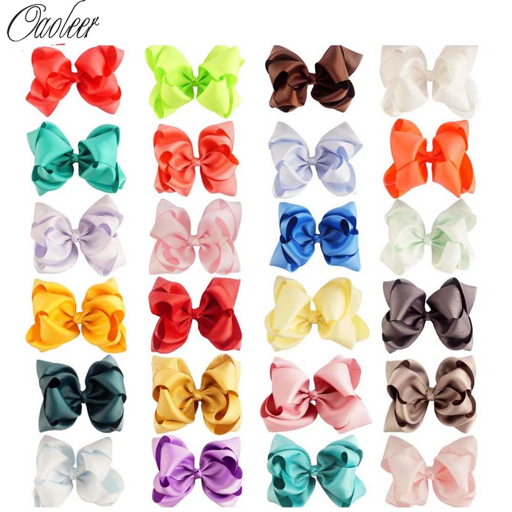 """24pcs/lot 5"""" Double Stacked Bows Grosgrain Ribbon Hair Bow With Alligator Clip For Girls Kids Hair Accessories"""