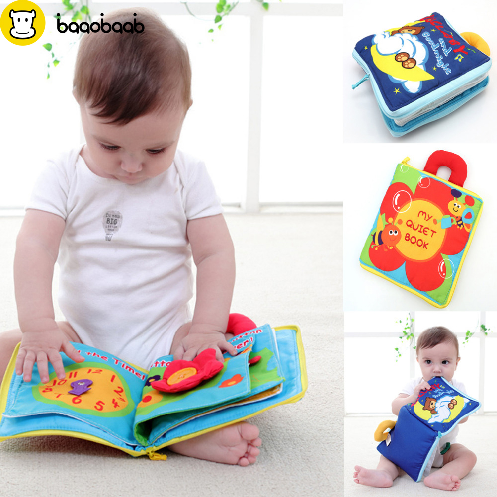 BAAOBAAB Soft Books Infant Early Cognitive Development My Quiet Bookes Baby Goodnight Educational Unfolding Cloth Book Activity