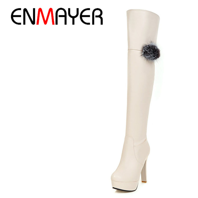 ENMAYER New Fashion High Heels Long Boots Shoes Woman Over-the-knee Zip Round Toe 3 Colors Black Shoes Platform Shoes Sexy Charm hot sale new arrival black red full grain leather zip fashion women boots round toe square heels over the knee shoes woman ab888